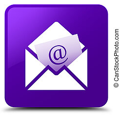 Newsletter email icon purple square button