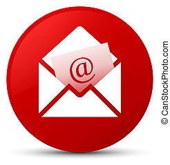 Newsletter email icon red round button