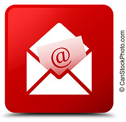 Newsletter email icon red square button