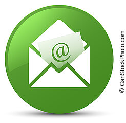 Newsletter email icon soft green round button
