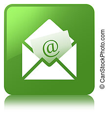 Newsletter email icon soft green square button