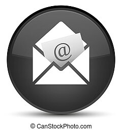 Newsletter email icon special black round button