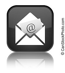 Newsletter email icon special black square button