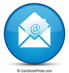 Newsletter email icon special cyan blue round button