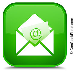 Newsletter email icon special green square button