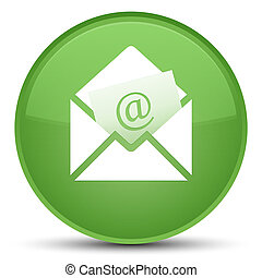 Newsletter email icon special soft green round button