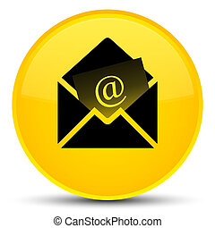 Newsletter email icon special yellow round button