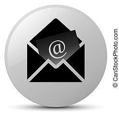 Newsletter email icon white round button