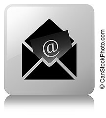 Newsletter email icon white square button