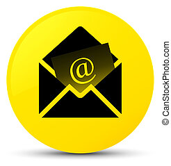 Newsletter email icon yellow round button