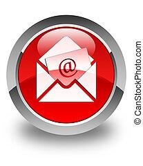 newsletter, email, icono, brillante, rojo, redondo, botón