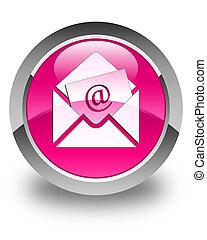 newsletter, email, icono, brillante, rosa, redondo, botón