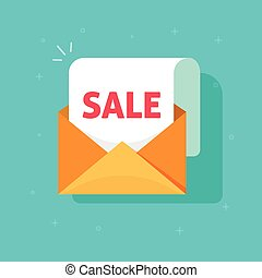 Newsletter email sale promotion vector, open envelope paper document sheet with sale discount