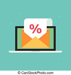 Newsletter email sale promotion vector concept, laptop with open envelope