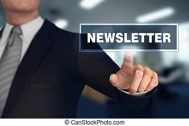 newsletter, empujar, concepto, 3d, ilustración