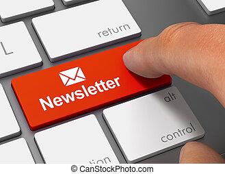 newsletter, empujar, teclado, con, dedo, 3d, ilustración