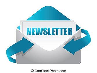 newsletter, envelope, ilustração
