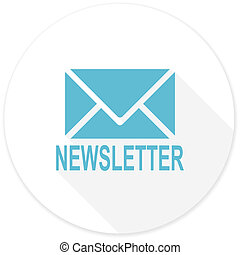 newsletter flat design modern icon with long shadow for web and mobile app