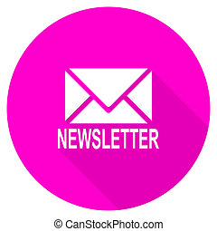 newsletter flat pink icon