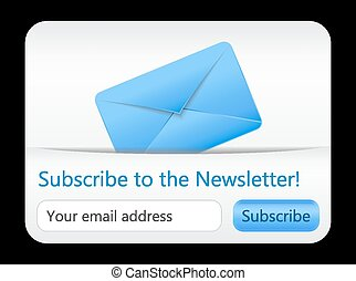 Light subcribe to newsletter website element with blue envelope