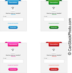 Newsletter forms in four different colors