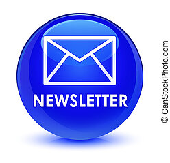Newsletter glassy blue round button