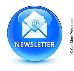 Newsletter glassy cyan blue round button