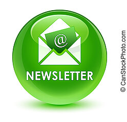 Newsletter glassy green round button