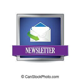 Newsletter glossy blue icon illustration design over white