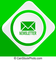 newsletter green flat icon
