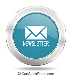 newsletter icon, blue round glossy metallic button, web and mobile app design illustration