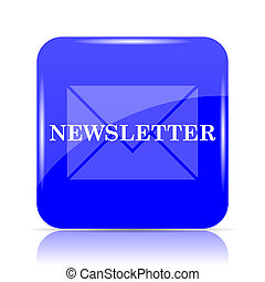 Newsletter icon, blue website button on white background.