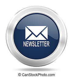 newsletter icon, dark blue round metallic internet button, web and mobile app illustration