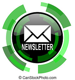 newsletter icon, green modern design isolated button, web and mobile app design illustration