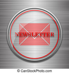 Newsletter icon. Internet button on metallic background.