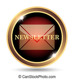 Newsletter icon. Internet button on white background.