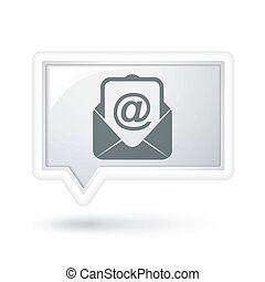 newsletter icon on a speech bubble over white