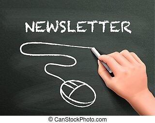 newsletter, mot, écrit, par, main