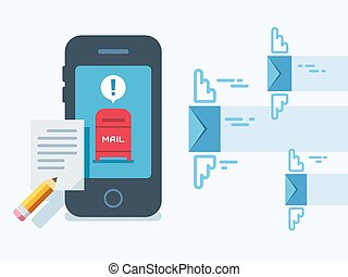 Newsletter Notification on Smart Phone Screen Flat Style. - ...