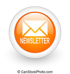 newsletter orange glossy web icon on white background