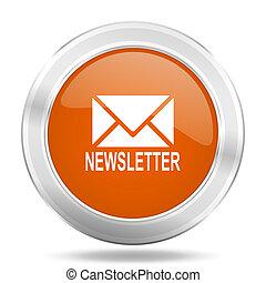 newsletter orange icon, metallic design internet button, web and mobile app illustration