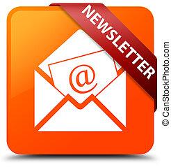 Newsletter orange square button red ribbon in corner