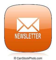 newsletter orange square web design glossy icon