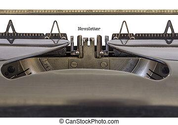 newsletter, på, a, skrivmaskin