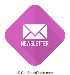 newsletter pink flat icon