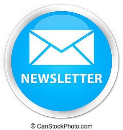 Newsletter premium cyan blue round button
