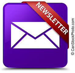 Newsletter purple square button red ribbon in corner