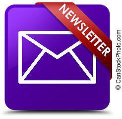 Newsletter purple square button red ribbon in corner