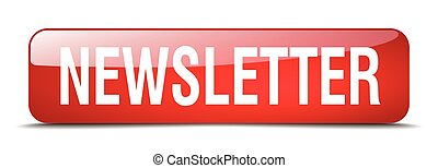 newsletter red square 3d realistic isolated web button