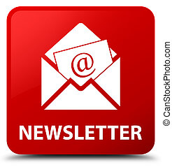 Newsletter red square button - Newsletter isolated on red ...